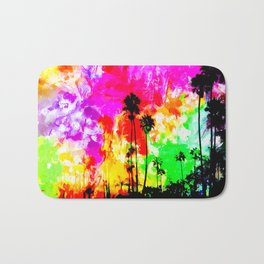 palm tree at the California beach with colorful painting abstract background Bath Mat