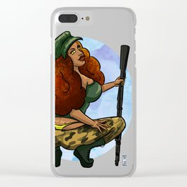 Sexy Diva Army Brat Pin-Up Girl Clear iPhone Case