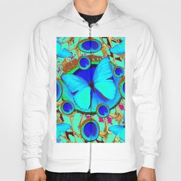 Royal Blue Eyes & Butterfly Dreams Abstract  Pattern Art Hoody