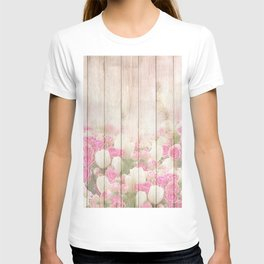 Beautiful Pink Tulip Floral Vintage Shabby Chic T-shirt