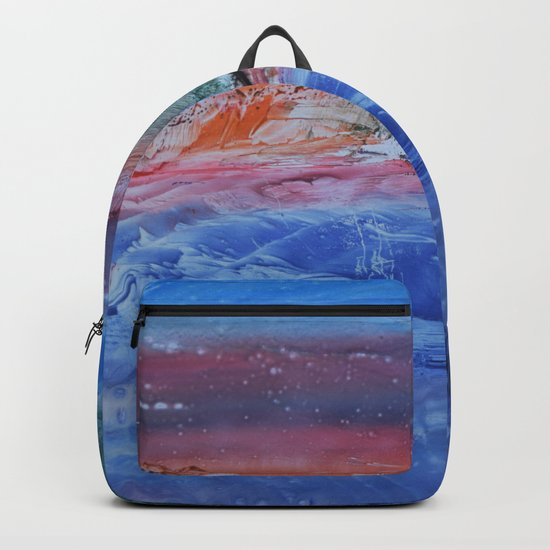 abstract composition with the sunset . Blue Backpack