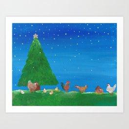 Bawking Around the Christmas Tree Art Print
