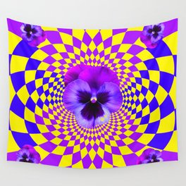 OPTICAL LILAC PURPLE PANSIES YELLOW  GEOMETRIC ART Wall Tapestry