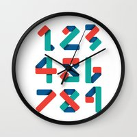 number Wall Clocks featuring Number by Steven Toang