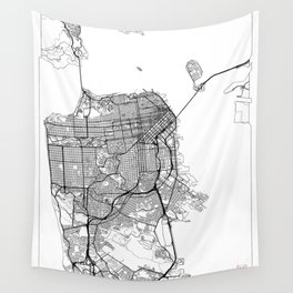 San Francisco Map White Wall Tapestry