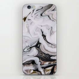 Elegant dark swirls of marble iPhone Skin