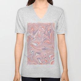 Pink & White marble Swirls Unisex V-Neck