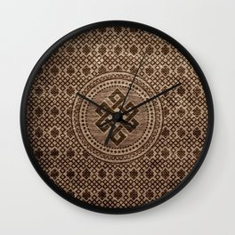 Endless Knot Decorative on Wooden Surface Wall Clock