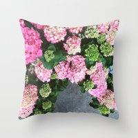 hydrangea Throw Pillows featuring Hydrangea  by Chelsea Victoria