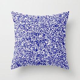 Tiny Spots - White and Dark Blue Throw Pillow
