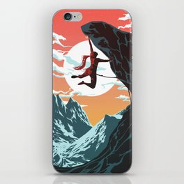 Rock Climbing Girl Vector Art iPhone Skin