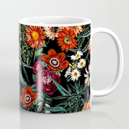 Marijuana and Floral Pattern Coffee Mug