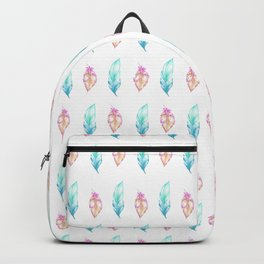 Blush pink teal watercolor hand painted feathers Backpack