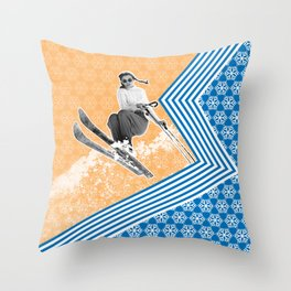 Ski Like a Girl Throw Pillow