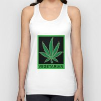 vegetarian Tank Tops featuring Vegetarian Marijuana Leaf by BudProducts.us