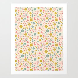 Pastel Daisy Flowers and Hearts Art Print