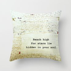 Painted Brick Wall -- Reach High Quote-- Antique Star Adornments Throw Pillow