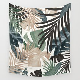 Tropical Jungle Leaves Pattern #13 (Fall Colors) #tropical #decor #art #society6 Wall Tapestry