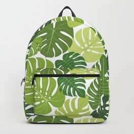 Monstera Leaves Pattern (white background) Backpack