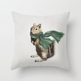 Winter Chipmunk Throw Pillow