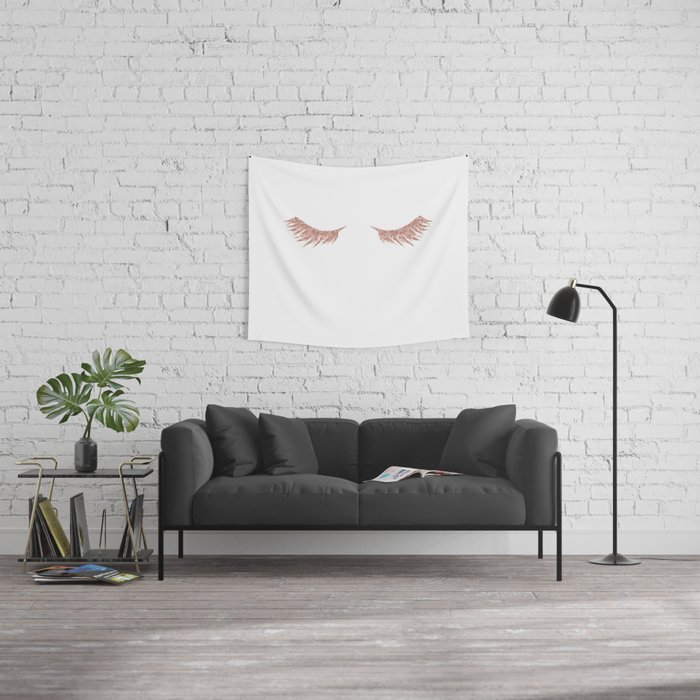 Pretty Lashes Rose Gold Glitter Pink Wall Tapestry