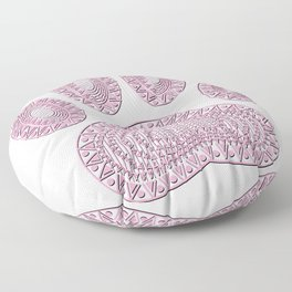 Abstract Pink Ink Dog Paw Print Floor Pillow