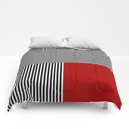 Geometric abstraction: black and white stripes, red square Comforters