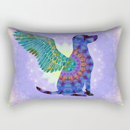 All Dogs Go To Heaven - Purple and Green Colorful Mandala Art - Sharon Cummings Rectangular Pillow