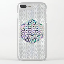 Flower of life Abalone shell on pearl Clear iPhone Case