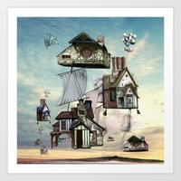 house Art Prints featuring house by Кaterina Кalinich