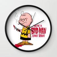 charlie brown Wall Clocks featuring You're a Bad Man Charlie Brown by Chris Piascik