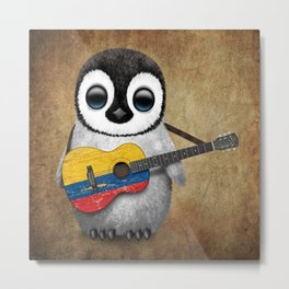 Baby Penguin Playing Colombian Flag Acoustic Guitar Metal Print