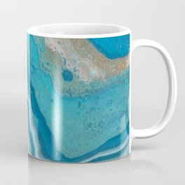 Turquoise River, Abstract Fluid Acrylic Painting Coffee Mug