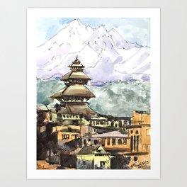 Nepal Temple Bhaktapur Kathmandu Art Print