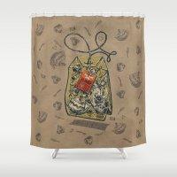 bag Shower Curtains featuring Tea bag by pakowacz