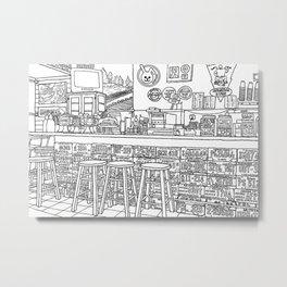 Arizona Flagstuff Diner - Line Art Metal Print