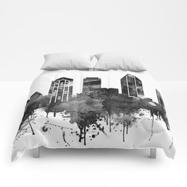 Black and white watercolor San Diego skyline Comforters