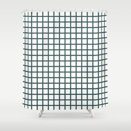 Grid (Jungle Green & White Pattern) Shower Curtain