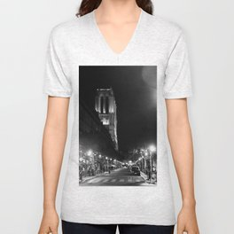A View Looking Down the Rue D'Arcole at Notre Dame Cathedral, Paris, France Unisex V-Neck