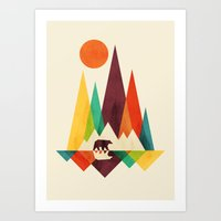 whimsical Art Prints featuring Bear In Whimsical Wild by Picomodi