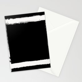 Square Strokes White on Black Stationery Cards
