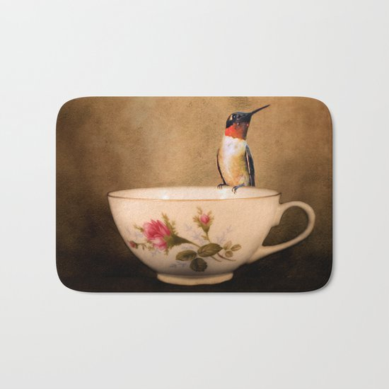 Tea Time With A Hummingbird 2 Bath Mat