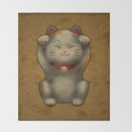 maneki-neko   Lucky Cat (White) Throw Blanket