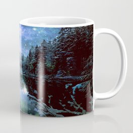 A Cold Winters Night : Violet Teal Green Winter Wonderland Coffee Mug