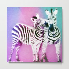 Zebra Kisses Metal Print