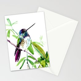 Hummingbird and Green Foliage, tropical green design Stationery Cards
