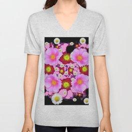 Black Design & Pink Roses Shasta Daisies Art Abstract Unisex V-Neck