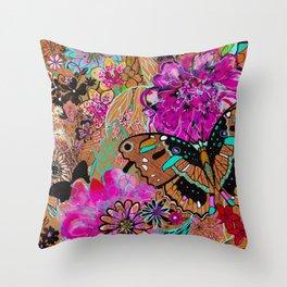 Neon Butterflies Throw Pillow