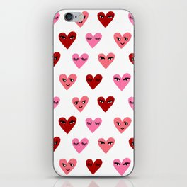 Heart love valentines day gifts hearts with faces cute valentine red and pink iPhone Skin