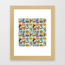 pattern with funny cute animal face on a blue background Framed Art Print